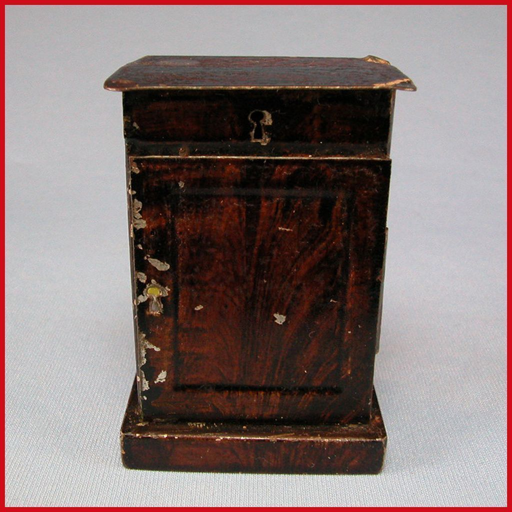Antique Rock And Graner German Dollhouse Tin Nightstand With Faux Wood Graining 1860s 1880s 1 Scale Antiques Tin Wood