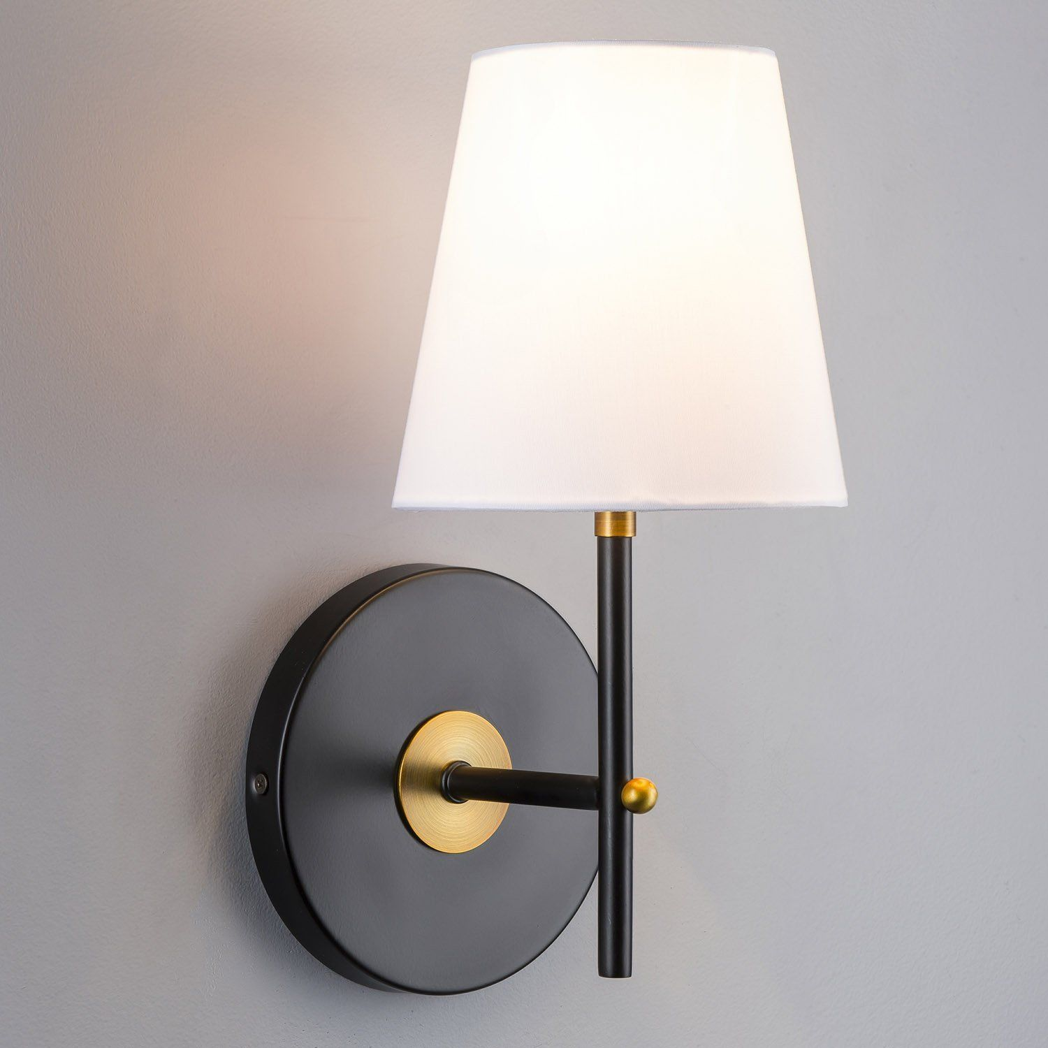 Tamb Sconce Black With Antique Brass One Light Fixture