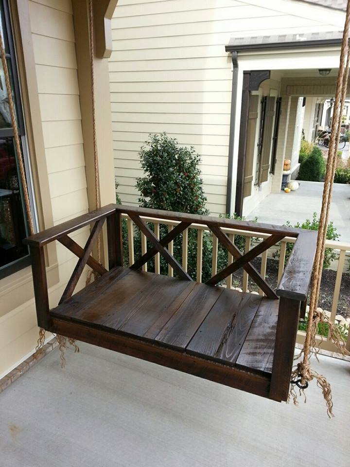 Custom Wood Dark Rustic Porch Swing Bed Furniture By