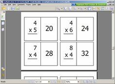 Math Flashcards  Can Print A Vertical Or A Horizontal Set