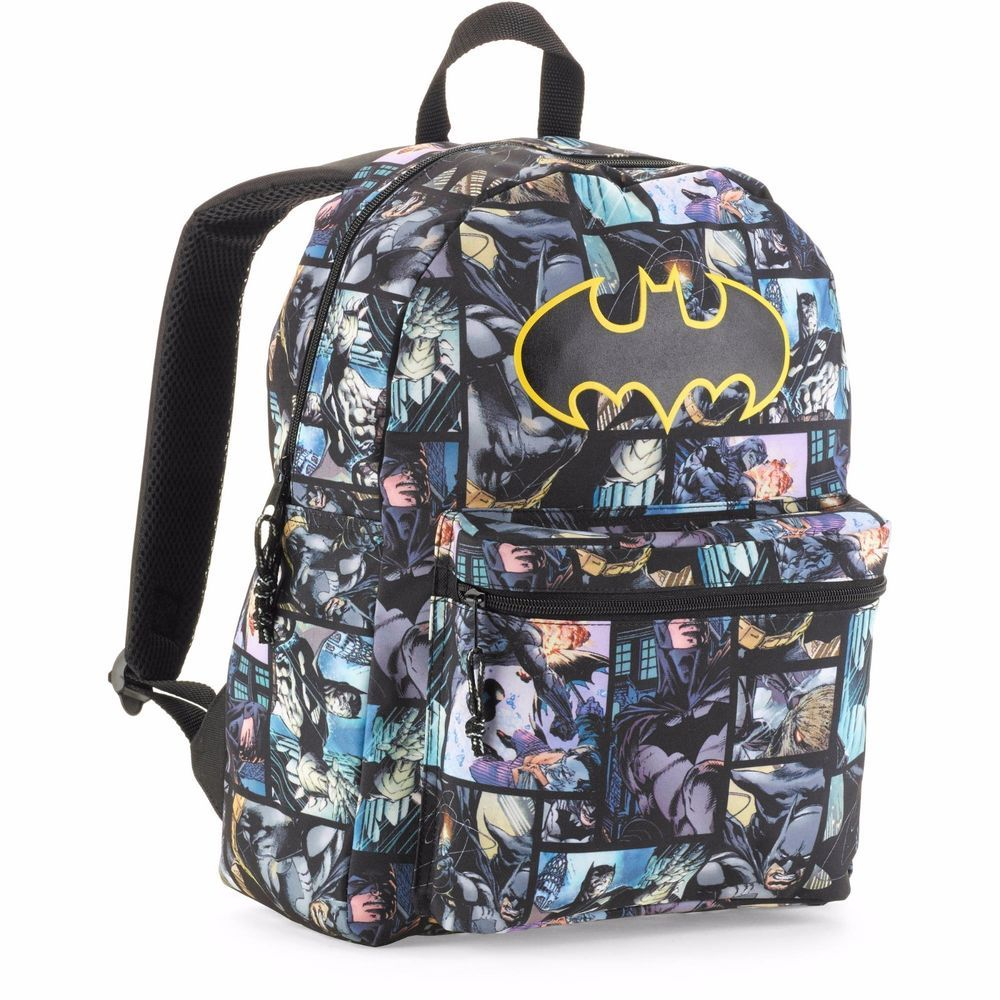 f13a8f2c377b Batman Signal Backpack COMIC PRINT Bat Logo Poly Canvas 16