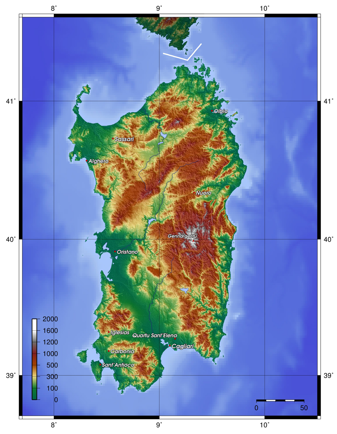 Topographic map of Sardinia in 20   Greek islands vacation ...