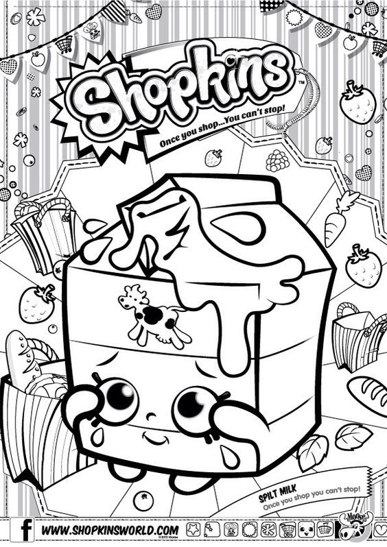 Shopkins Colour Color Page Spilt Milk Shopkinsworld Shopkins Colouring Pages Shopkin Coloring Pages Shopkins