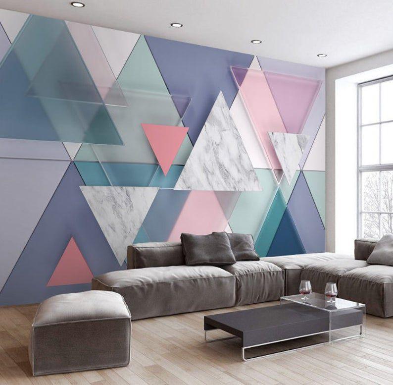 3d Geometric Rectangular Diamond Space Design Geometric Etsy Wall Decor Design Living Room Wall Wallpaper Home Decor