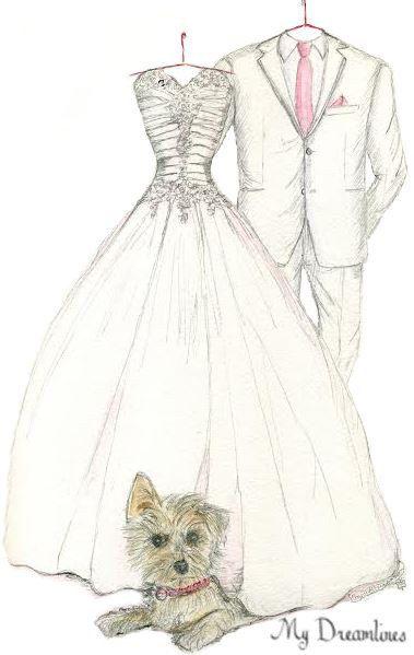 Sketch Of Wedding Dress Suit Pet