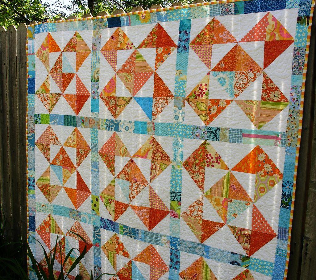 Orange/aqua quilt
