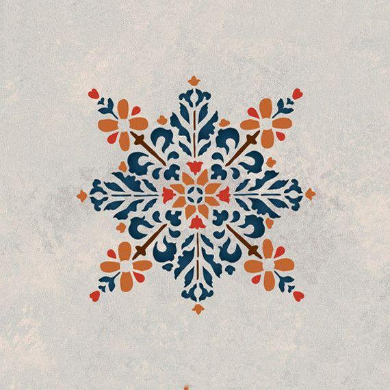 Embroidered Star Moroccan Stencil | Marokkanische schablonen ...