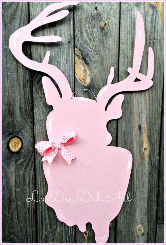 Door Hanger, Door Art, Girl Room Decor, Hunting, Deer, Antlers, Baby ...