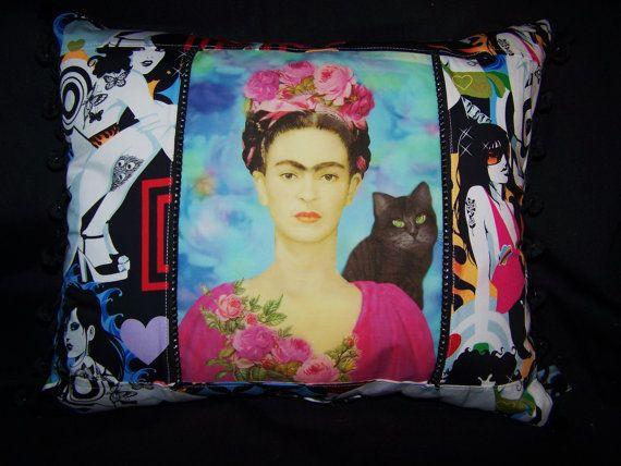 Frida Kahlo Designer Pillow Mod Fabrics Tattoo by RanchoRomantico, $59.99