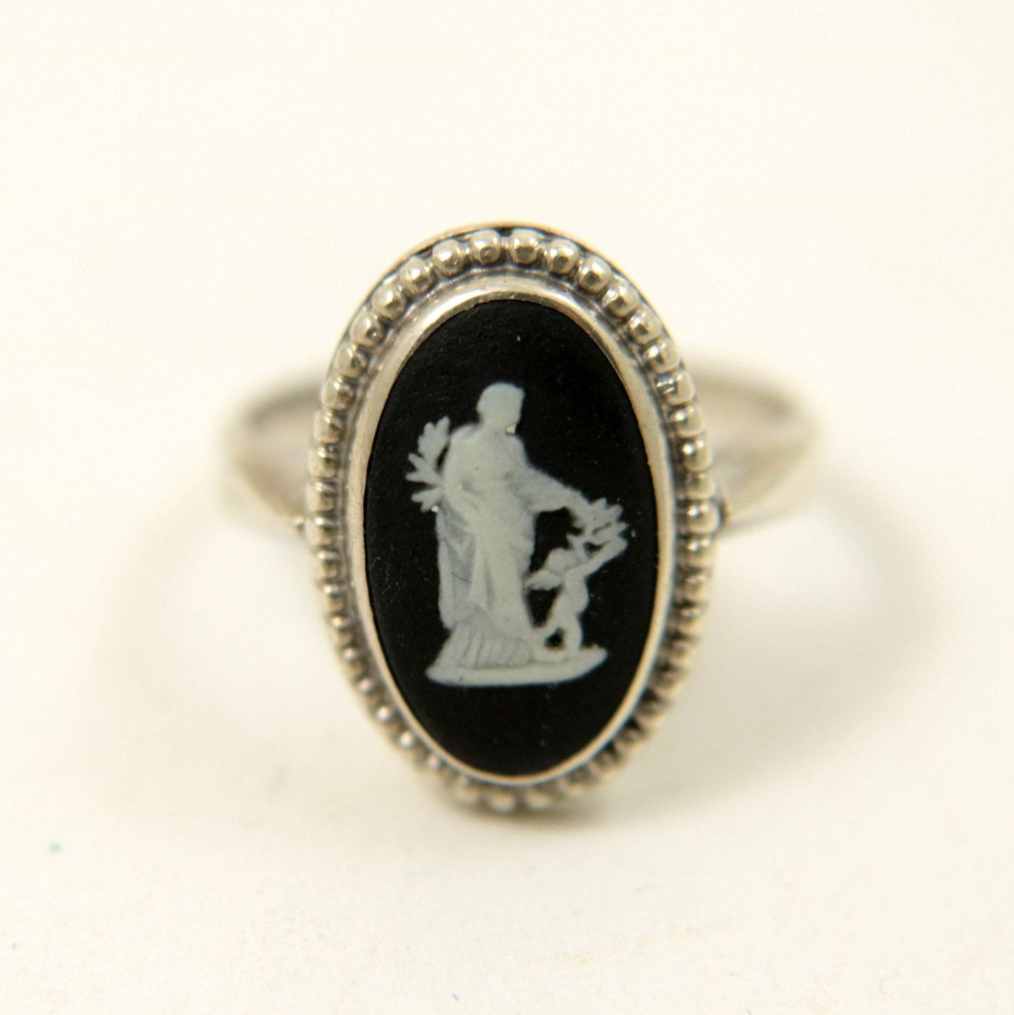 Handmade Ring Antique Vintage Old Silver Face Design Band Ring 7.5 us Size