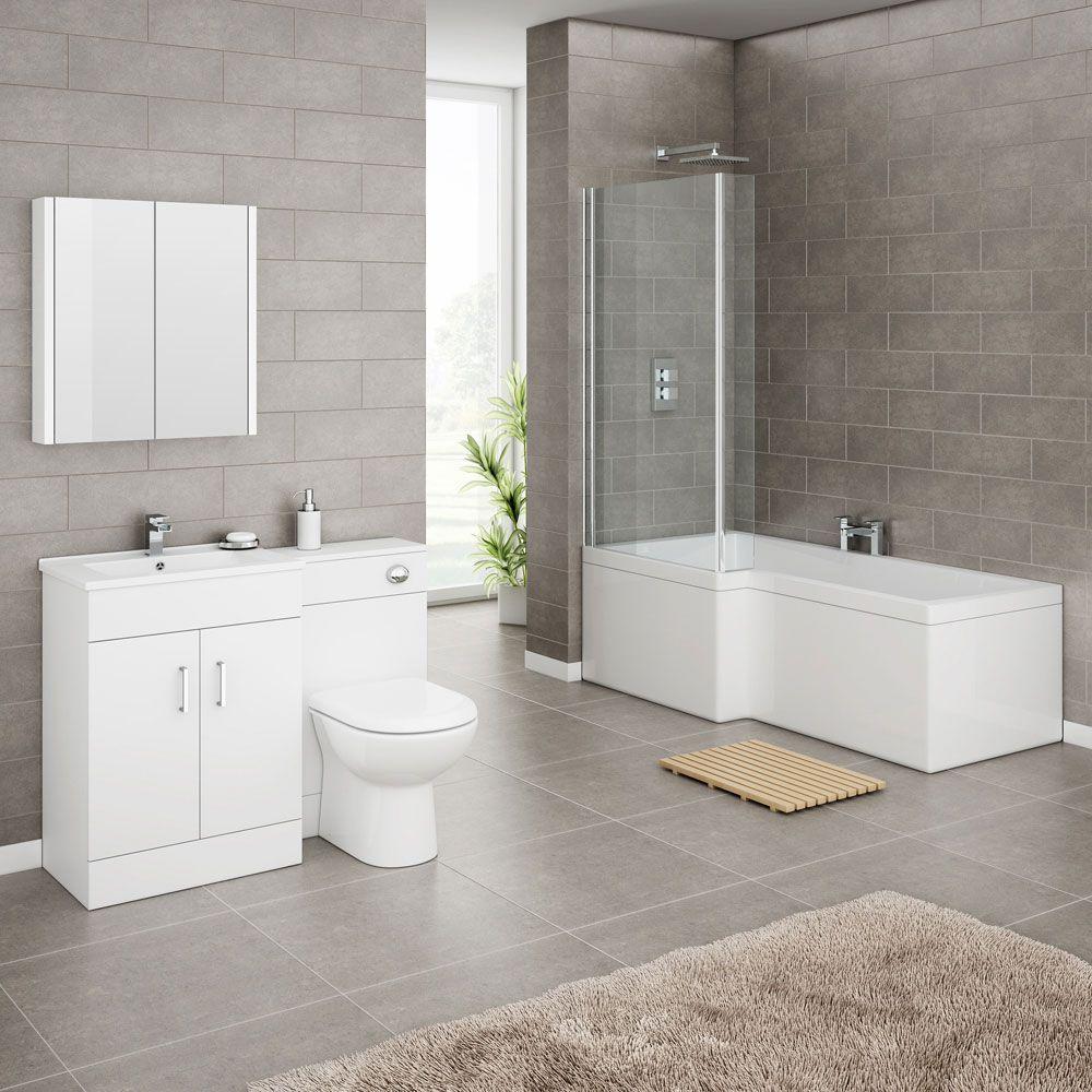 turin vanity unit bathroom suite (inc. square shower bath + screen