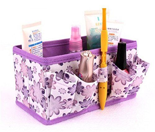 Bolayu Makeup Cosmetic Storage Box Bag Bright Organizer Foldable Stationary Container (Purple)