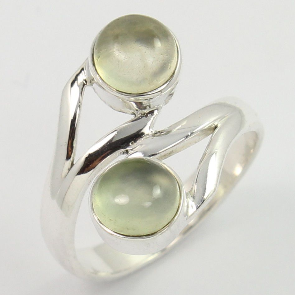 Natural PREHNITE Gemstone 925 Sterling Silver Fashion Ring Size US 5.75 Exporter #SunriseJewellers #Fashion