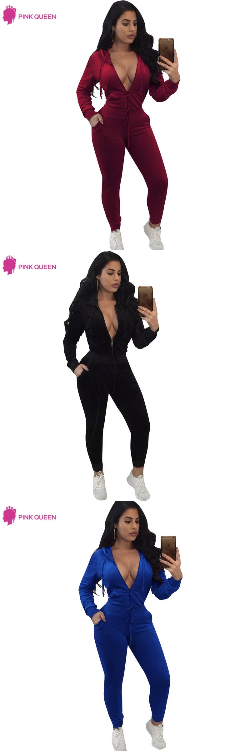 cf1d5a4a6198 Crop Top And Pants Suit ladies Sexy Leisure Two Piece Tracksuit DEEP V  Hoodie New Fashion