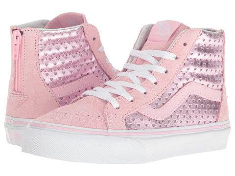 c33c3ceb591840 Vans Kids Sk8-Hi Zip (Little Kid Big Kid) Prism Pink True White -  Zappos.com Free Shipping BOTH Ways
