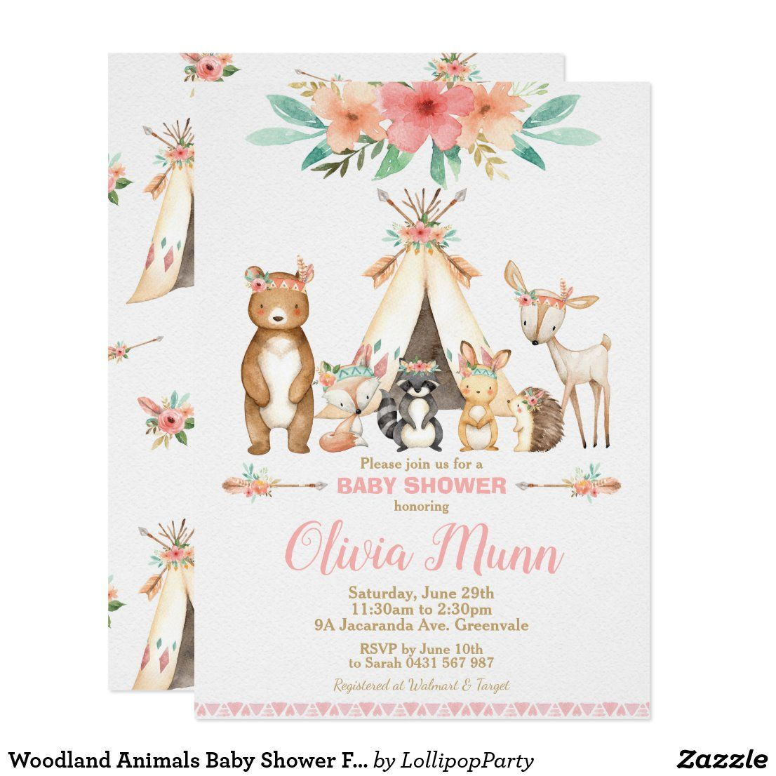 Woodland Animals Baby Shower Forest Animal Girl Invitation