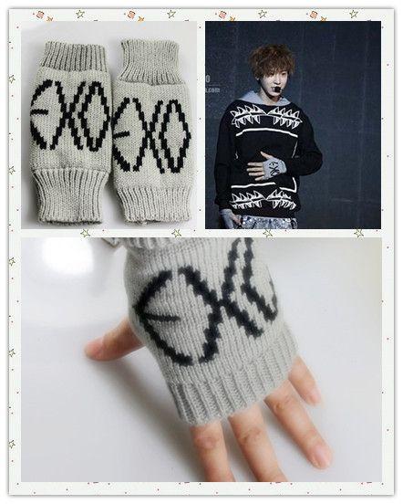 Exo Chan Yeol Kris Exo K Kpop Gray Gloves Glove Fan Goods New Exo