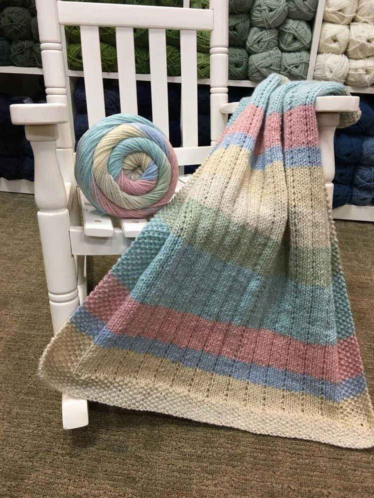 Vertical Lines Baby Blanket In Plymouth Yarn Hot Cakes F828