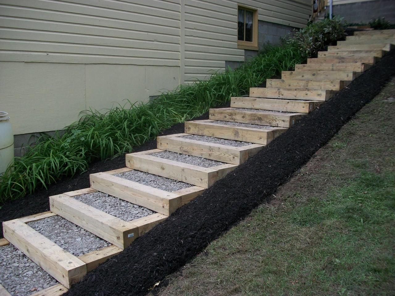 Landscape timbers home backyard pinterest petty for Pictures of garden steps designs