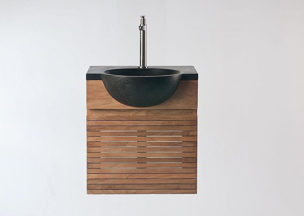 Meuble de salle de bain  meuble sous vasque teck et vasque terazzo