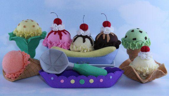 Felt Ice Cream Pattern, Felt Food Set, Fieltro Comida, Felt Food Pattern, Felt…