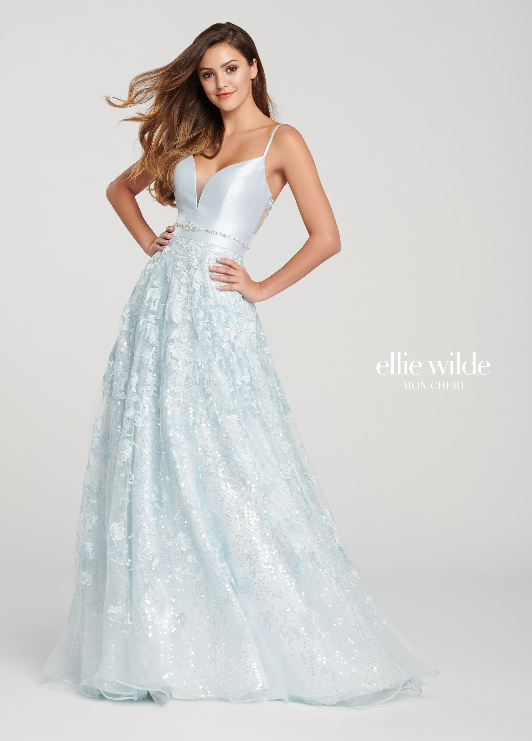 a6f3a2355d4 A-Line Prom Dress with a Mikado Bodice   Lace Skirt- EW119005 in ...