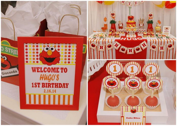 Real Parties Red Orange Elmo Inspired 1st Birthday Party elmo
