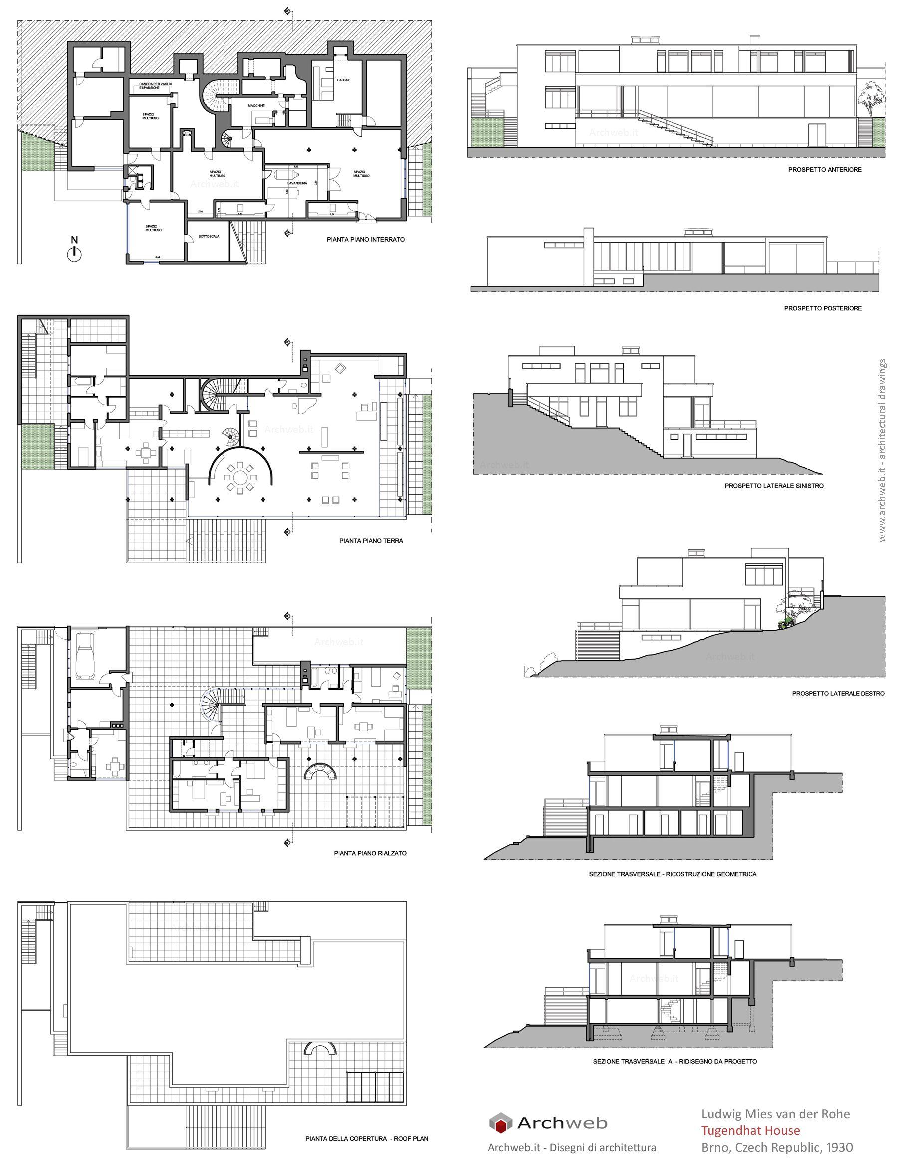 Fiori 3d Archweb.Tugendhat House Drawings Plan Planimetrie Di Case Architettura