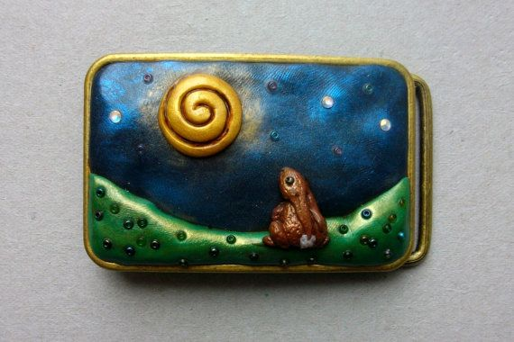 Moon Hare belt buckle. Metal with polymer clay and by GoblinMoonUK, £28.00