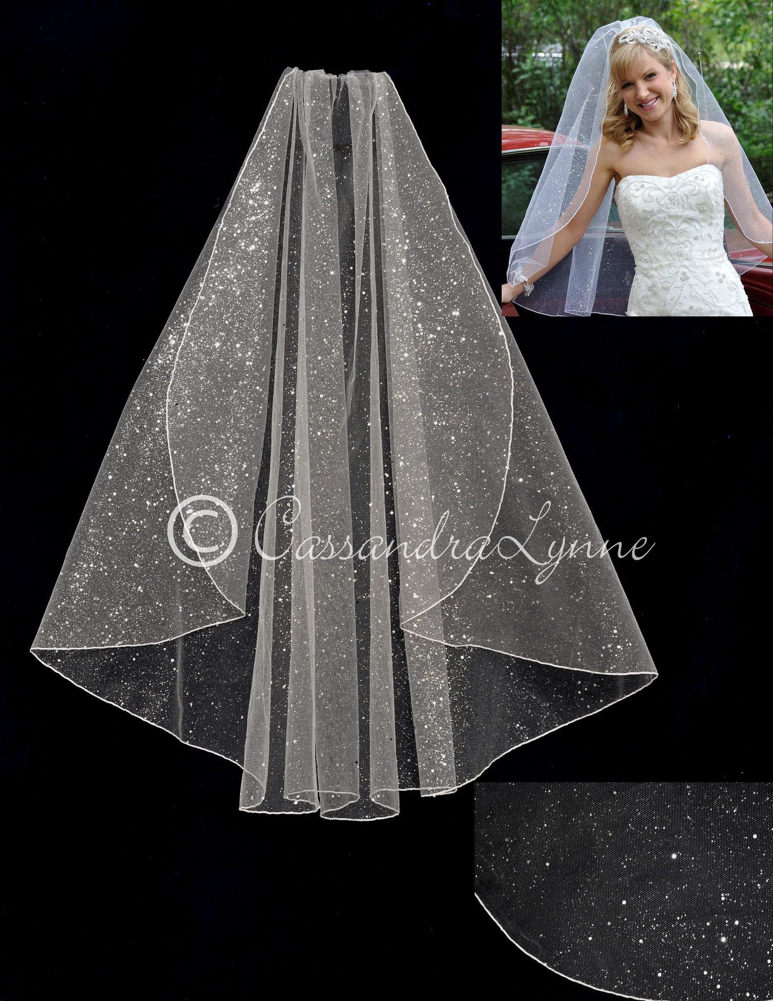 glitter wedding dress Glamour Glitter Bridal Veil Fingertip Length