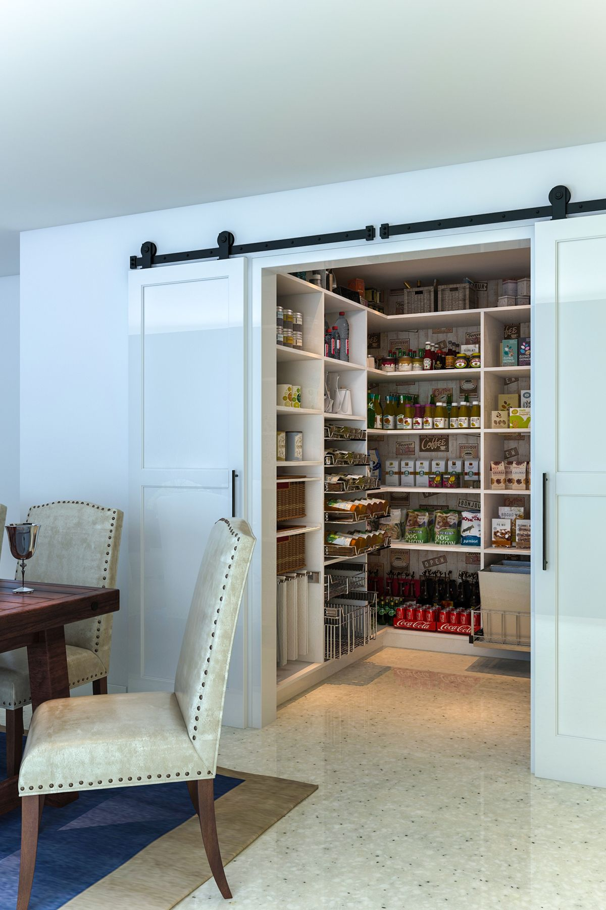 Pantry storage can be offset from an adjoining dining room ...