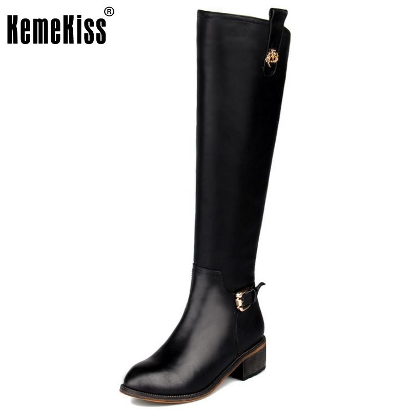 58.53$  Watch now - http://aliwe4.worldwells.pw/go.php?t=32741508302 - Fashion Genuine Leather Round Toe Over Knee High Boots Classical Buckle Style Knight Boot Winter Warm Shoes Size 33-43