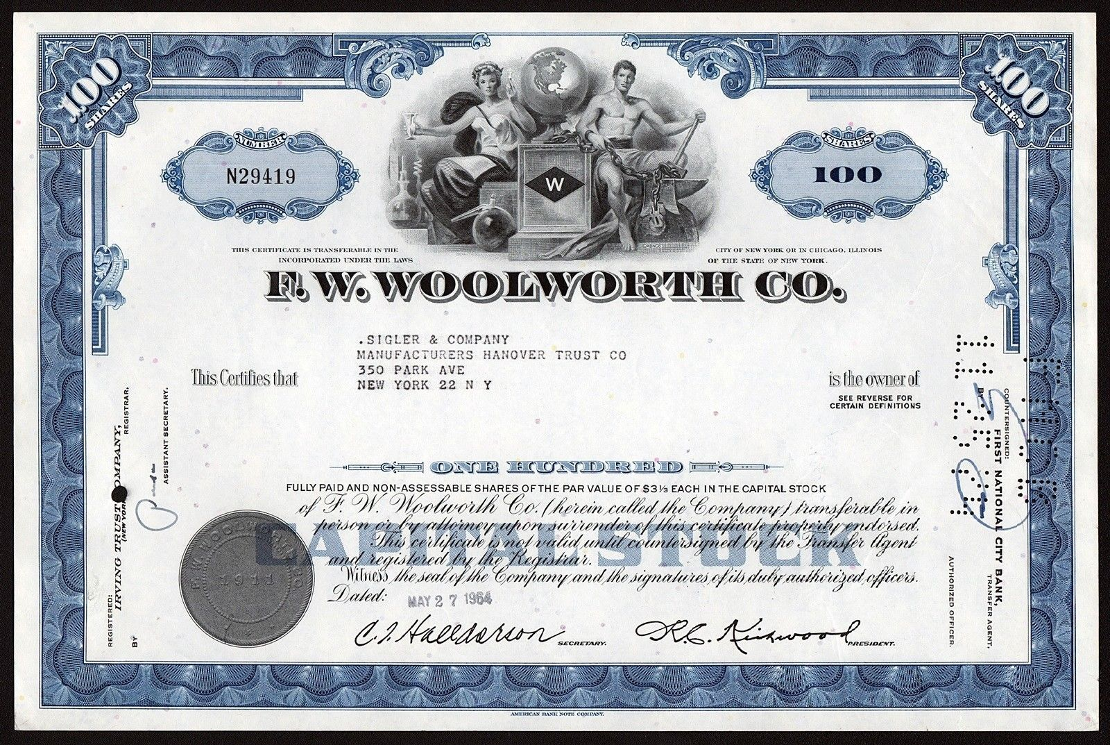New York: F.W. Woolworth Co. - 100 shares