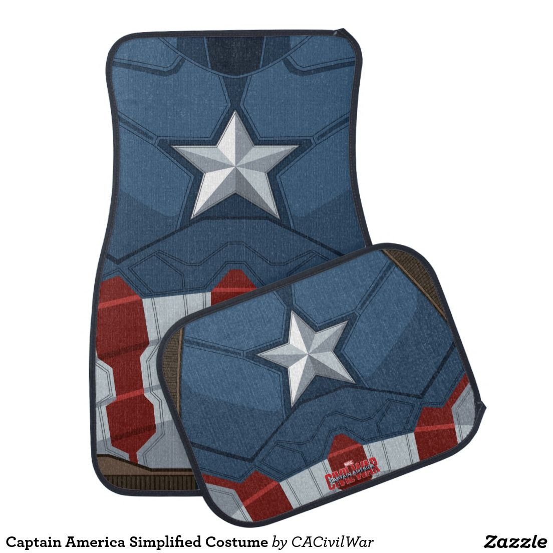 Captain America Simplified Costume Car Floor Mat Car Floor Mats Captain America Costume Superhero Gifts