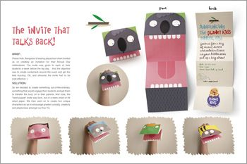 Awesome idea! Kids party invitation that's also a puppet.