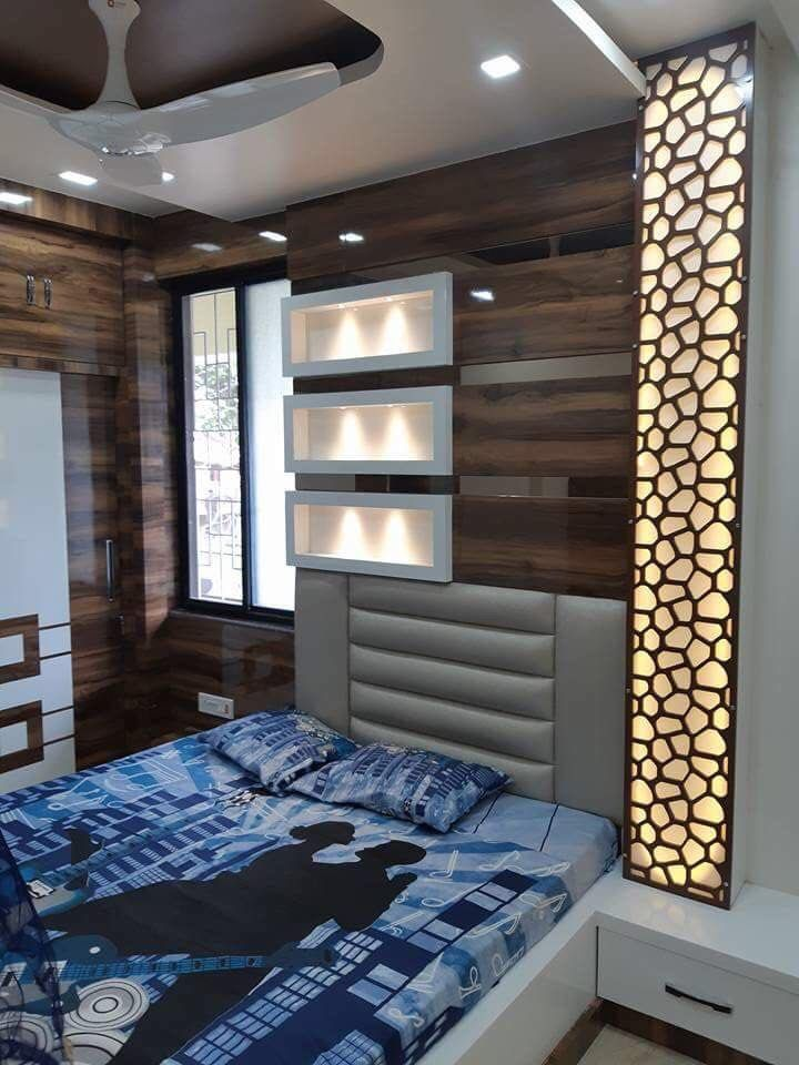 Bed wall paneling Ceiling design bedroom, Luxurious