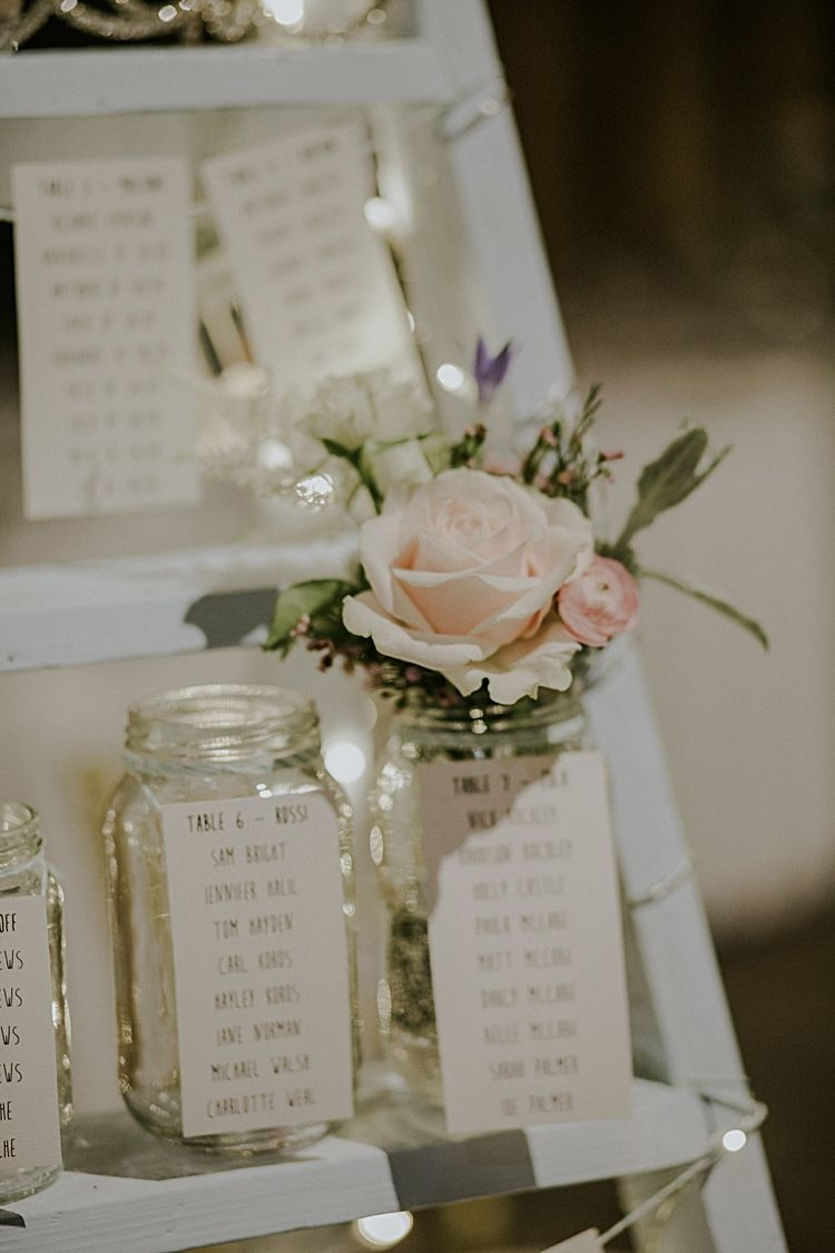 Ladder Jar Flowers Seating Plan Table Chart Fairy Lights Pretty Pale Blue  Gold Fairy Lit Barn