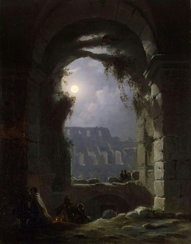 Carl Gustav Carus: view of the colosseum by night.