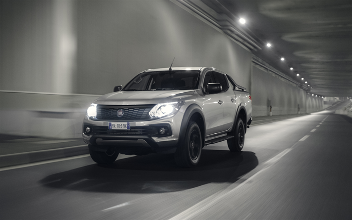 download wallpapers fiat fullback cross, 4k, 2017 cars, pickup, road,  headlights, fiat