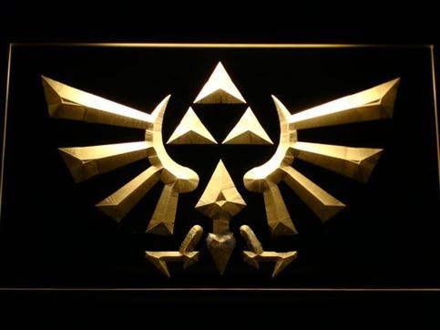 12 X 9 Zelda Hyrule Crest Triforce Laser Etched 3d Led Light Triforce Neon Signs Legend Of Zelda