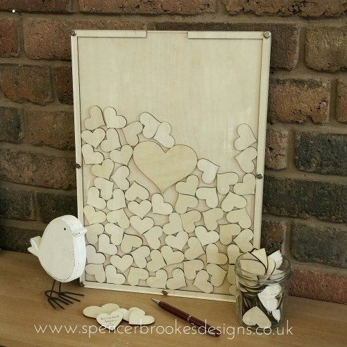 Laser cut drop top guest book - gorgeous wooden guest book with hearts for the guests to sign
