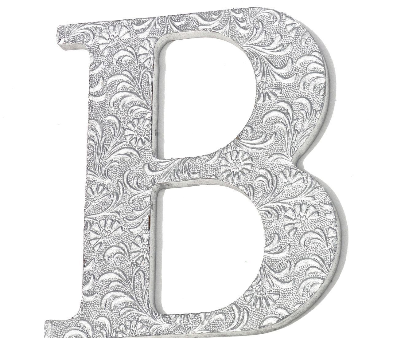 Wall Hanging Letter B, Embossed Initials, Silver, Chic Decor, Custom Wood,