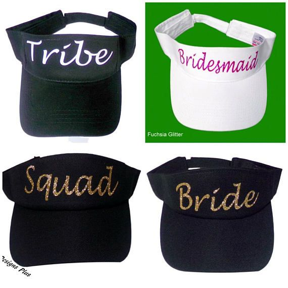 Personalized Glitter Embellished Bachelorette Party Visors For The