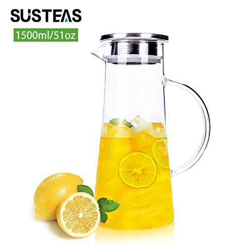 15 Liter 51 Ounces Glass Pitcher With Lid Covered Gallon Iced Tea