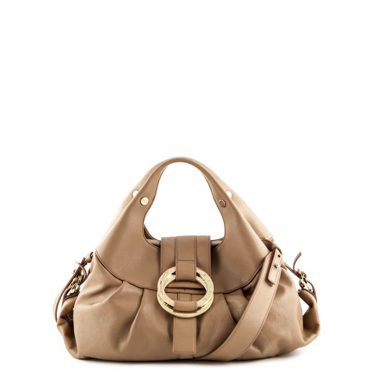 Bvlgari Beige Leather Small Chandra Top Handle Designer Pursesdesigner