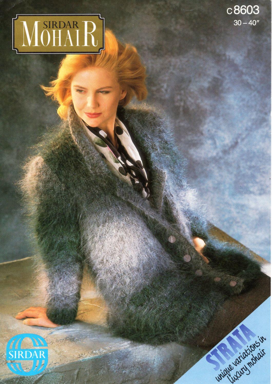 ladies mohair jacket knitting pattern PDF womens long shawl collar ...