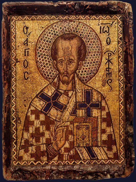 Portable Mosaic Icon With Saint John Chrysostom  Byzantine