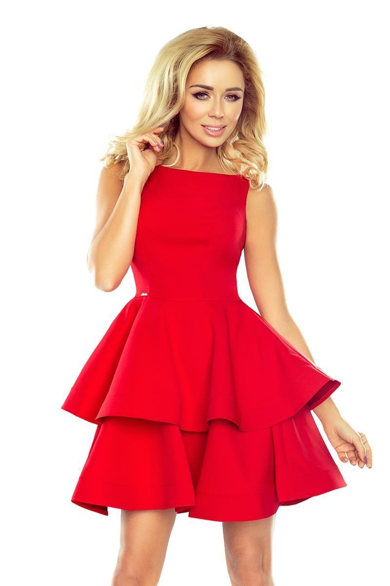 Sliczna Czerwona Sukienka Bez Rekawow Fason Mocno Rozkloszowany Z Dwoma Falbanami Idealna Na Przyjecie Koktajlowe Dresses Plus Size Ivory Dresses Model Dress