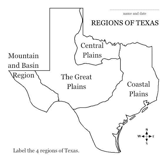 Texas Regions Project Map. Students could do this by using ...