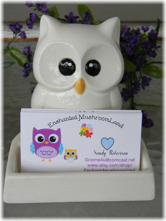 Owl business card holder office desk decor white ceramic glazed owl business card holder office desk decor by enchantdmushroomland colourmoves